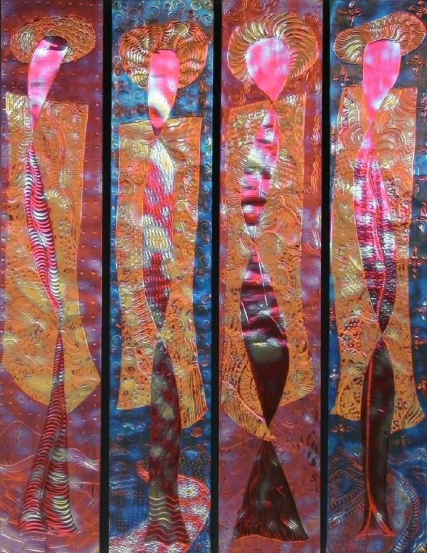 Darcy Meeker wall art, girls in yellow