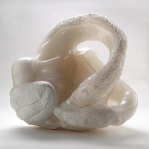Stone sculpture, my fingers are feathers by Darcy Meeker